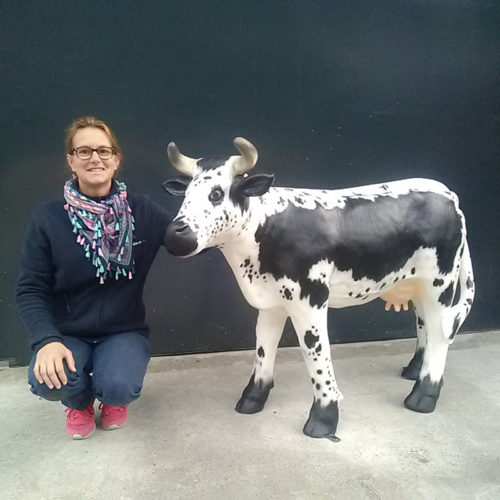 AFMA769v vache vosgienne nlcdeco animaux en resine