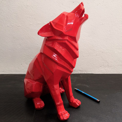 loup design origami nlcdeco animaux en resine decoration interieur facette