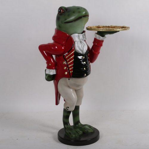 Serveur-grenouille-avec-plateau-nlcdeco-décors-en-résine-amphibiens-maitre-dhôtel-restaurateur-restaurant-accueil-chaleureux-comique-humour-élégant-vue-
