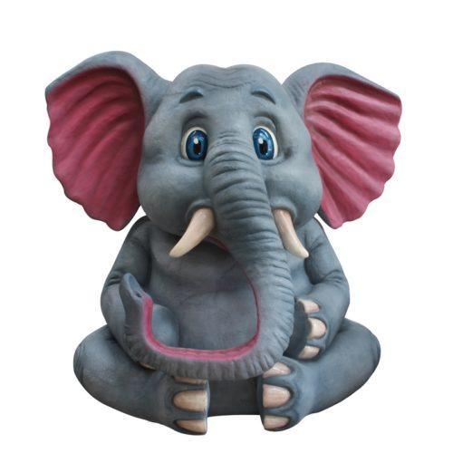 énorme éléphant assis en résine nlcdeco