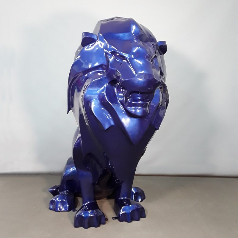 Lion assis design bleu roi nlcdeco