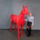 Cheval origami rouge aspect brillant nlcdeco