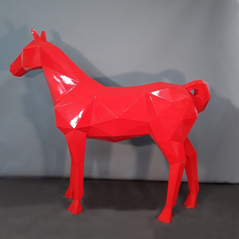 Cheval origami rouge décoration design nlcdeco