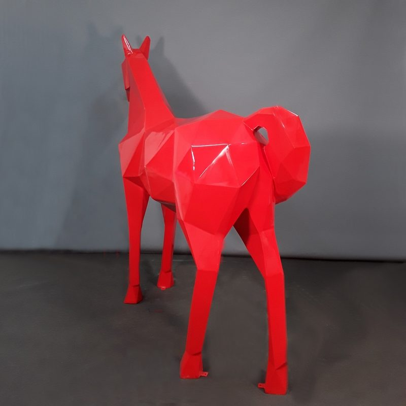 Cheval origami rouge décoration moderne nlcdeco