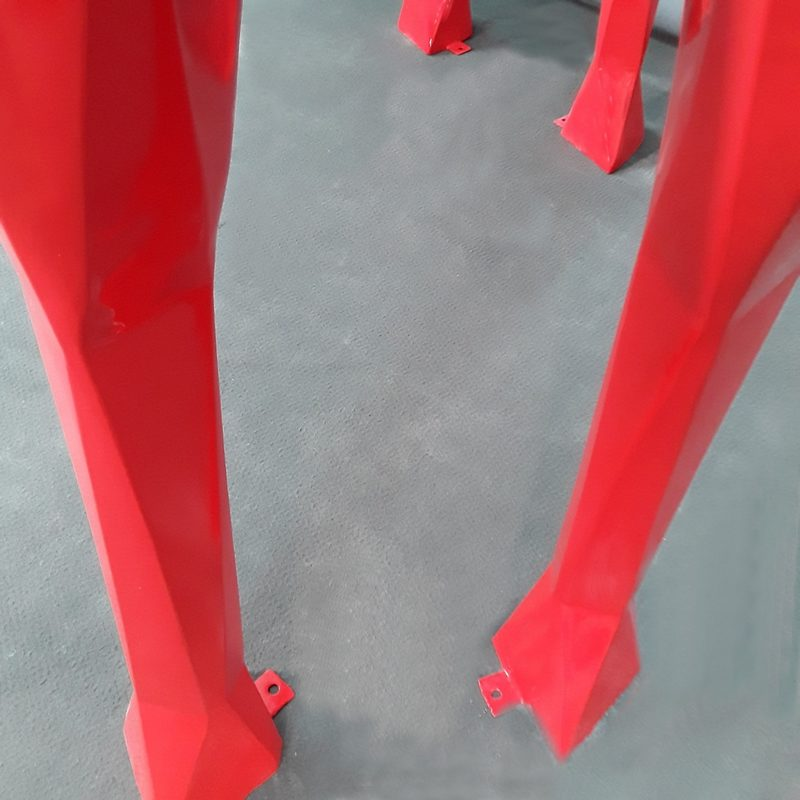 Cheval origami rouge pattes de fixation nlcdeco