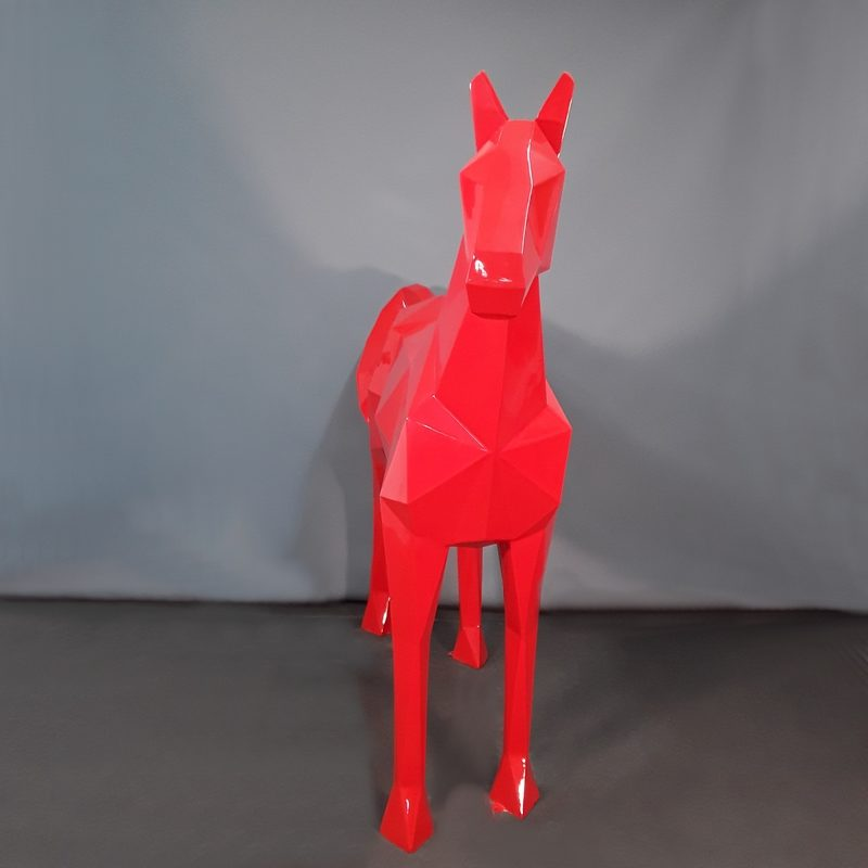 Cheval origami rouge taille réelle nlcdeco