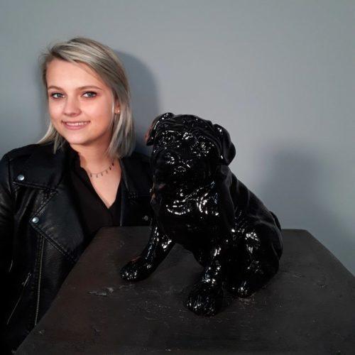 Statuette chien bouledogue noir nlcdeco
