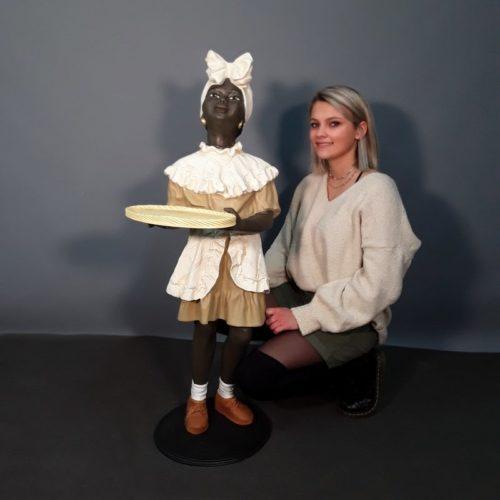 Statuette fillette africaine en résine nlcdeco