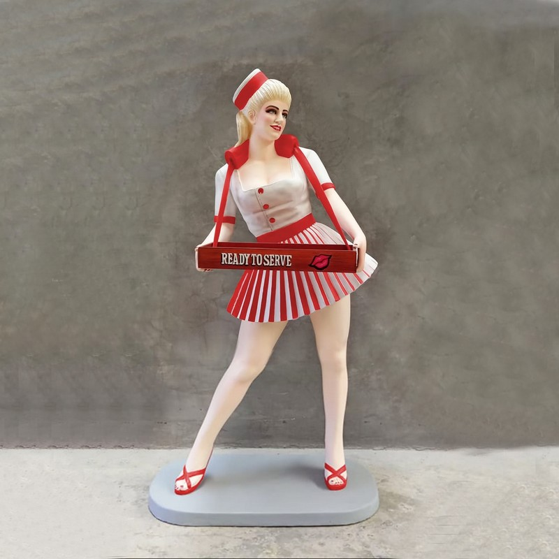 Statue taille réelle pin-up serveuse nlcdeco