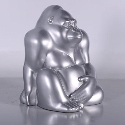 080094 Gorille-argent nlcdeco.fr décoration animaux en résine
