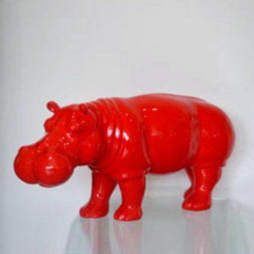 Hippopotame-rouge-en-résine-nlcdeco