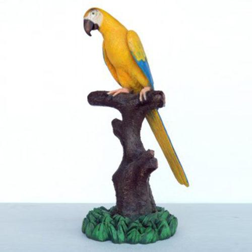 Perroquet-sur-perchoir-bleu-jaune animaux en résine nlcdeco déco
