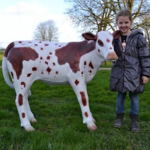 Veau-grandeur-nature-Normand animaux en résine nlcdeco