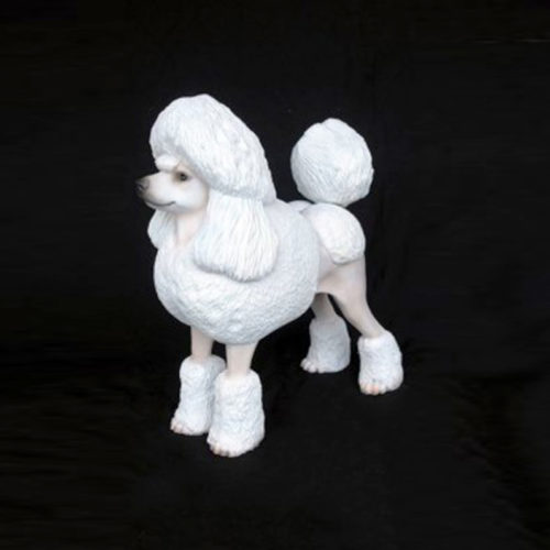 Caniche-royal-blanc chien resine nlc déco deco animaux
