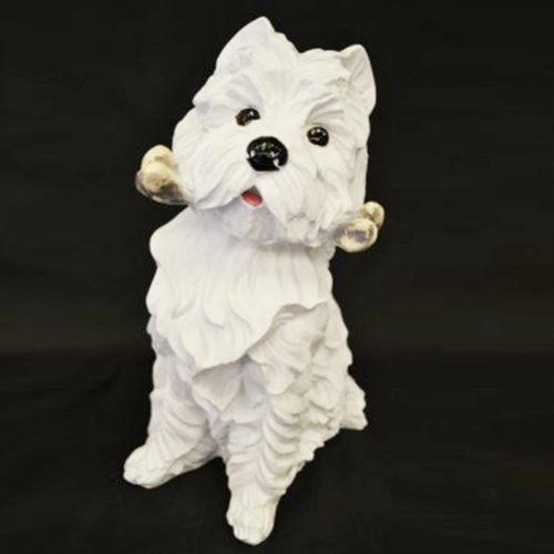Grand-Westie-avec-os chien déco resine nlc deco déco