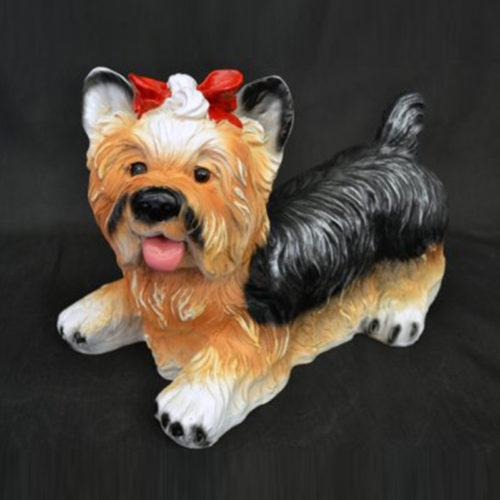 Yorkshire-couché chien résine nlc déco deco animaux