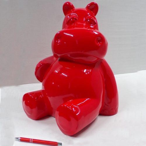 hippopotame design couleur rouge en résine