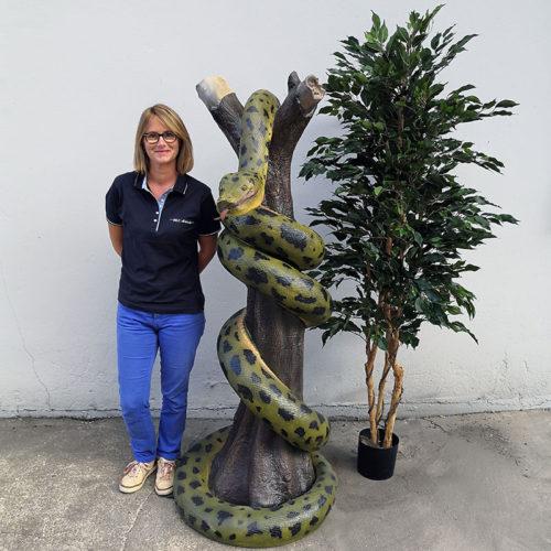 AEPR109 serpent anaconda sur tronc decoration animaux en resine jungle (2)