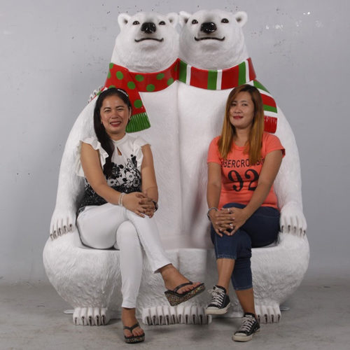 Banc ours blanc noel duo