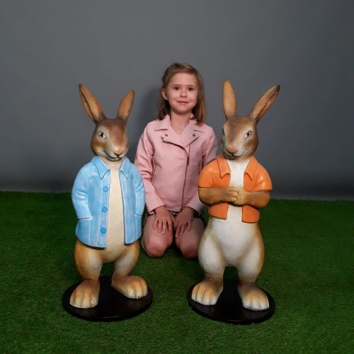 Duo de lapins dessin animé nlcdeco