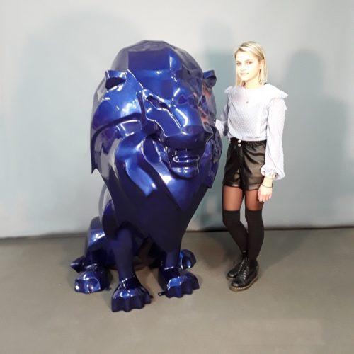 Lion design bleu roi décoration hôtel nlcdeco