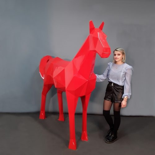 Cheval origami rouge aspect brillant nlcdeco