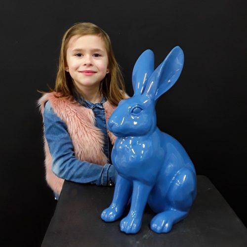 Faux lapin assis bleu nlcdeco