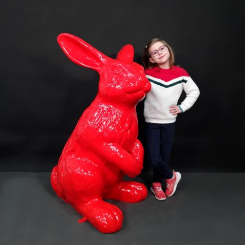 Statue Lapin design rouge nlcdeco