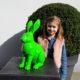 Statue résine lapin vert assis nlcdeco