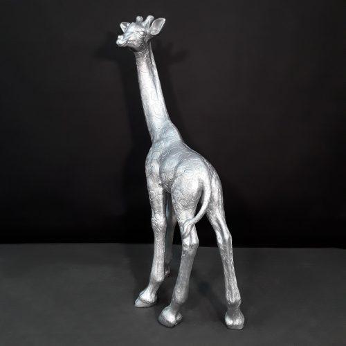 Statue Girafe argentée nlcdeco